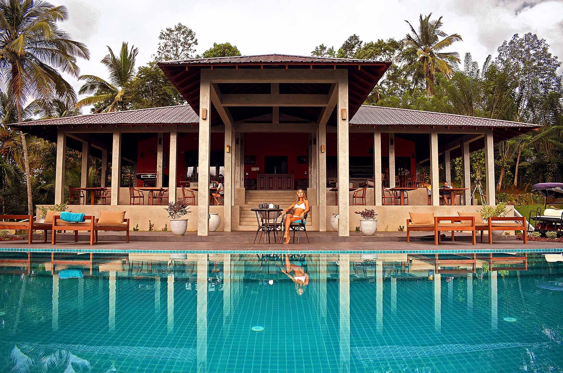 Pool Area at Aarunya Resort in Kandy